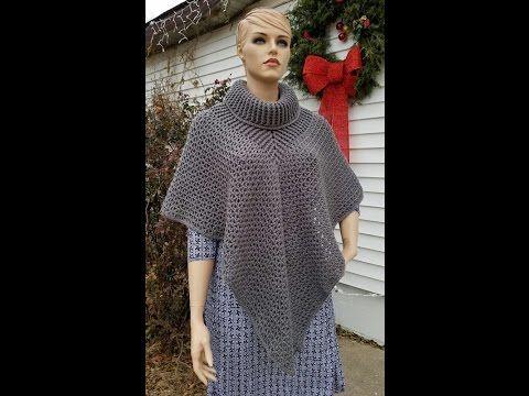 CROCHET INTERMEDIATE  How To #Crochet Ladies Cowl Neck Poncho TUTORIAL #357 - YouTube