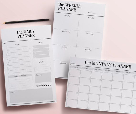 // daily, weekly and monthly planners