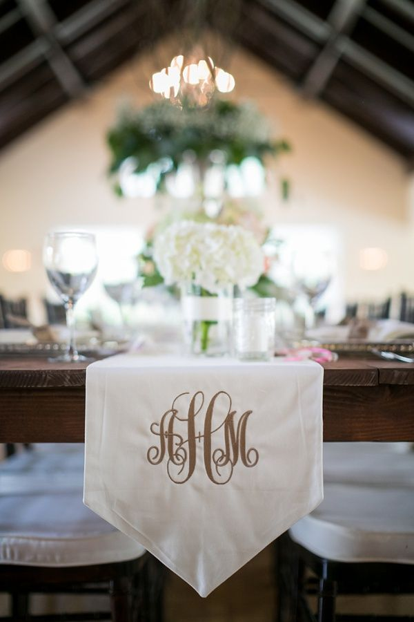 Monogram embroidered on reception table runner for this Southern wedding!