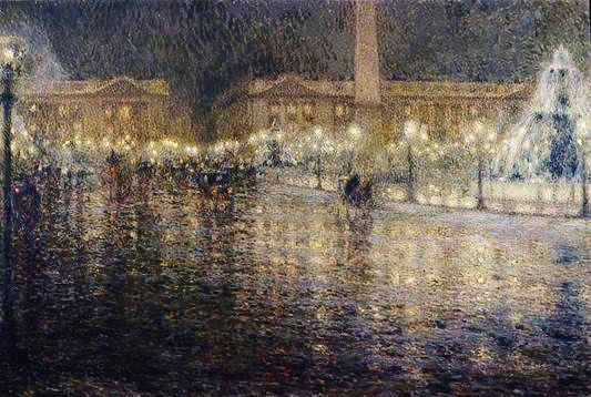 Henri Le Sidaner (French 1862–1939) [Impressionism] Paris in the Rain, 1909.