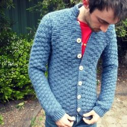 Boys can crochet too! I made this cardigan for myself, based on a vintage pattern.