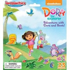"""Contains one play board and one magnet sheet, which includes 23 individual magnets. Children can have fun with Dora and Boots as they go on an adventure with the rest of their friends. Open play board measures 14 ½"""" x 8"""". #dora #doretheexplorer #boots #magnets #imaginetics"""