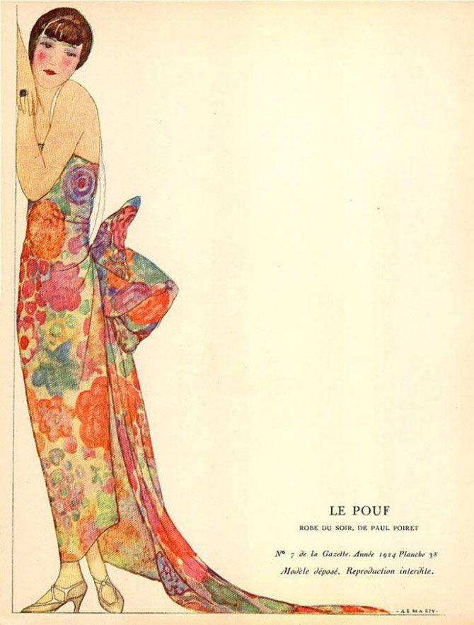 Andre Edouard Marty - Le Pouf - Robe de soir de Paul Poiret - 1924