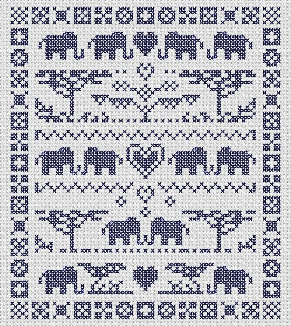 Elephant cross stitch pattern modern sampler by MKDesignArt, £1.50