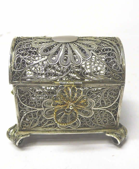 Antique Silver Filigree Box - waxantiques