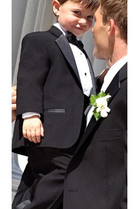 Our Toddler Tuxedo is made of 100�0polyester with elastic waist pants. Package includes Jacket, Pant, Shirt, Vest