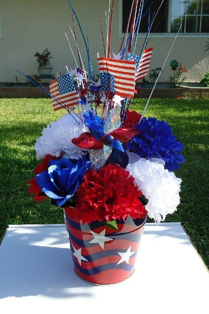 July 4th Red White Amp Blue Silk Flower Rose Arrangement