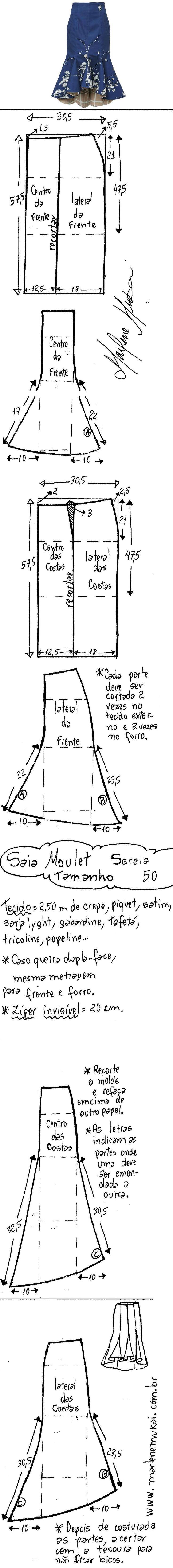Saia Mulet sereia. Publicado em 26/09/2016 por marleneglaumar2002 em modelagem. Esquema de modelagem de saia moulet sereia do 36 ao 56.