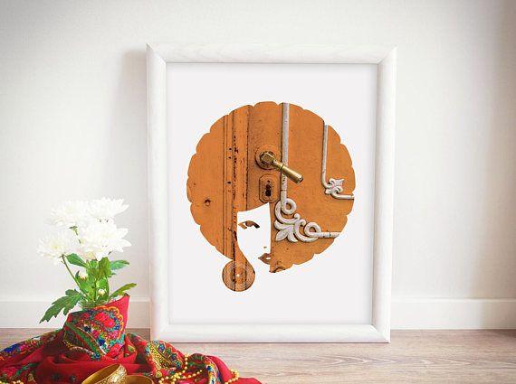 Orange Afro Art, African American Wall Decor, Beautiful Girl Portrait Poster, Door Photo Print, Digital Download, Vintage Ornaments Artwork
