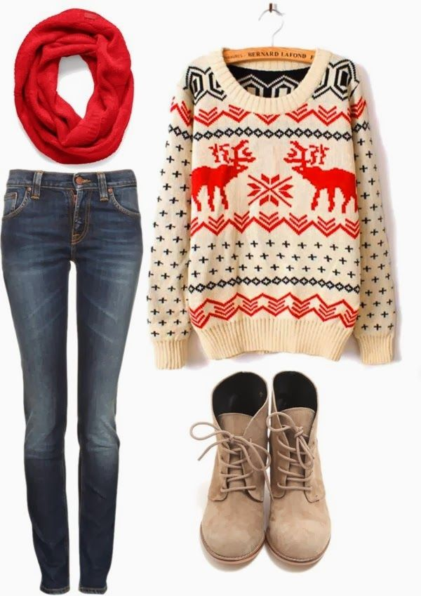 Red muffler with a creamy color sweater and jeans