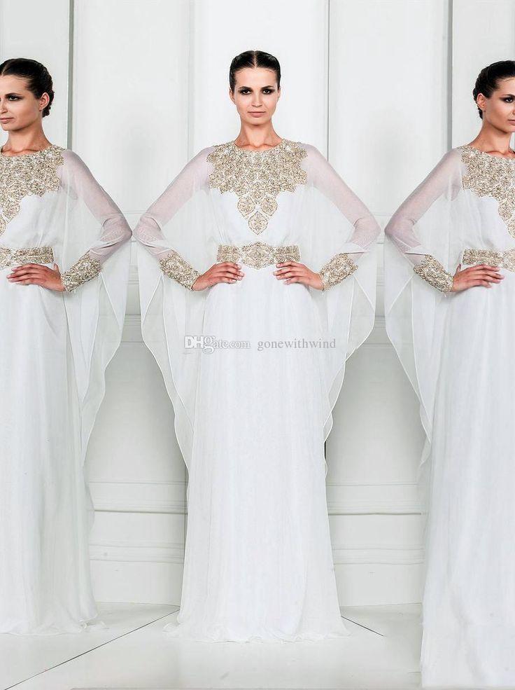 Online Dress Shop Arabic Dresses Dubai Abaya Kafta Jewel White Chiffon Plus Size Evening Dresses With Batwing Arabic Style Mother Of The Bride Dresses Cheap Long Evening Dresses Uk From Gonewithwind, $130.9| Dhgate.Com
