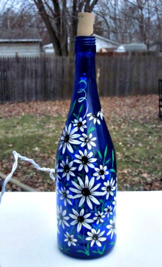 Blue Wine Bottle Light, Table Light,  Hand Painted Wine Bottle Light, White Flowers with Black Centers, Night Light