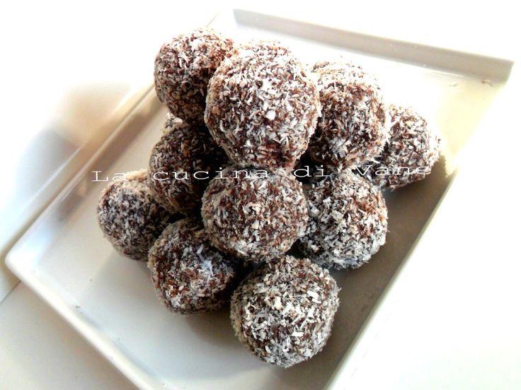 Tartufi+cocco+e+nutella+ricetta+dolce+senza+forno