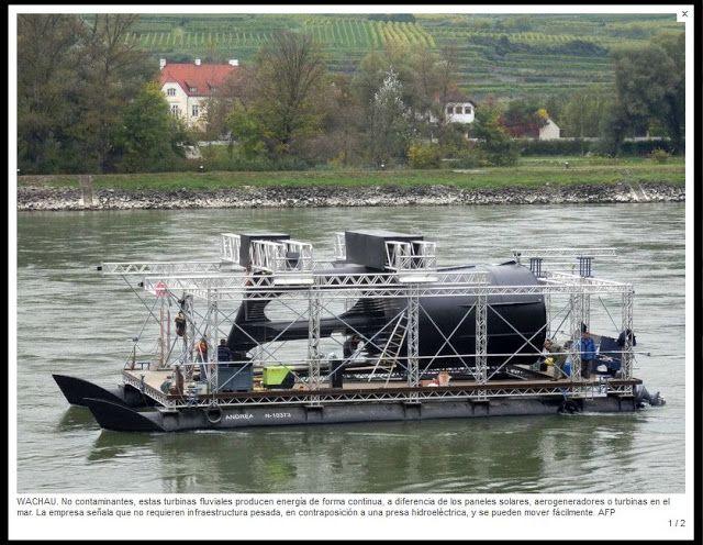 """Austria estrena tecnología para generar electricidad en los ríos   La región austriaca del Wachau atravesada por el Danubio parecía poco propicia para las energías limpias hasta la aparición de una tecnología que permite generar electricidad con el agua de los ríos sin dañar el medioambiente.  En esa zona al oeste de Viena patrimonio de la Unesco desde el año 2000 no se pueden poner aerogeneradores """"y la instalación de paneles solares está estrictamente regulada"""" recuerda Andreas Nunzer…"""