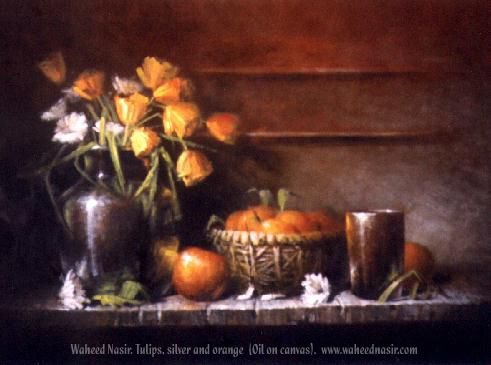 The Art of Waheed Nasir - Tulips,Silver And Orange