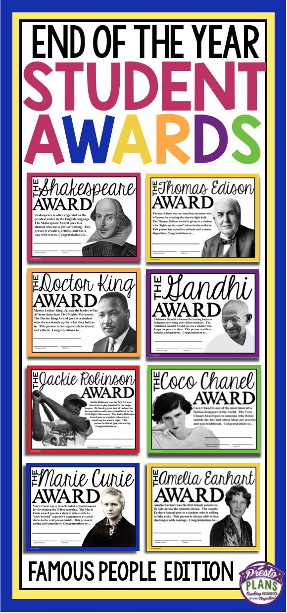 End your school year by giving your students these 30 ready-to-print awards inspired by famous and influential people in history! Each of the awards is named after a famous person and a detailed explanation for why the student is receiving the award is included on the certificate.                                                                                                                                                                                 More