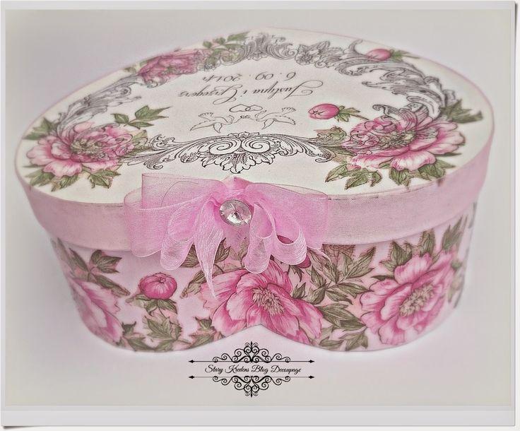 Serce w pastelowym różu , bieli i różowe piwonie - Szczęścia Zdrowia Młodej Parze :) - Decoupage