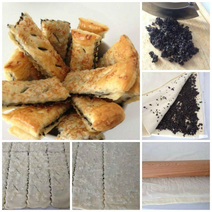 Bastoncini di sfoglia, olive e acciughe - Puff pastry sticks, olives and anchovies http://www.armoniadimandorle.it/2014/06/bastoncini-di-sfoglia-e-olive.html