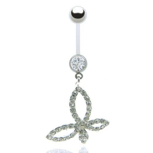 Envolez vous avec ce bijou piercing papillon spécial femme enceinte : barre souple ajustable vous permettant de garder votre piercing pendant la grossesse.