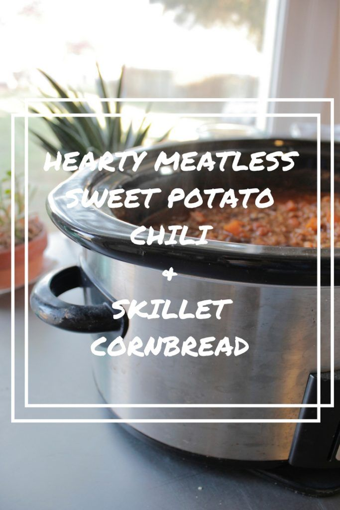 OohBother | Hearty Meatless Sweet Potato Chili and Skillet Cornbread