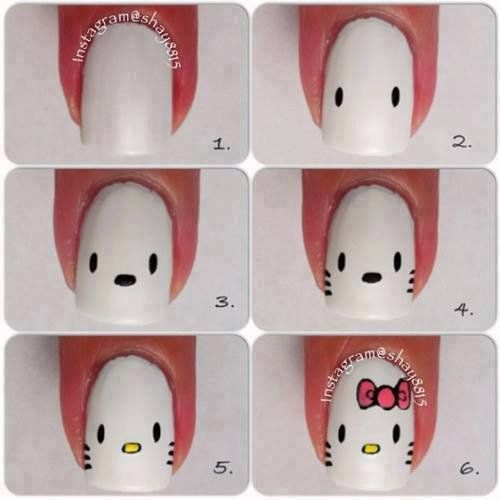 Hello Kitty nail art, cute for my little nice (: