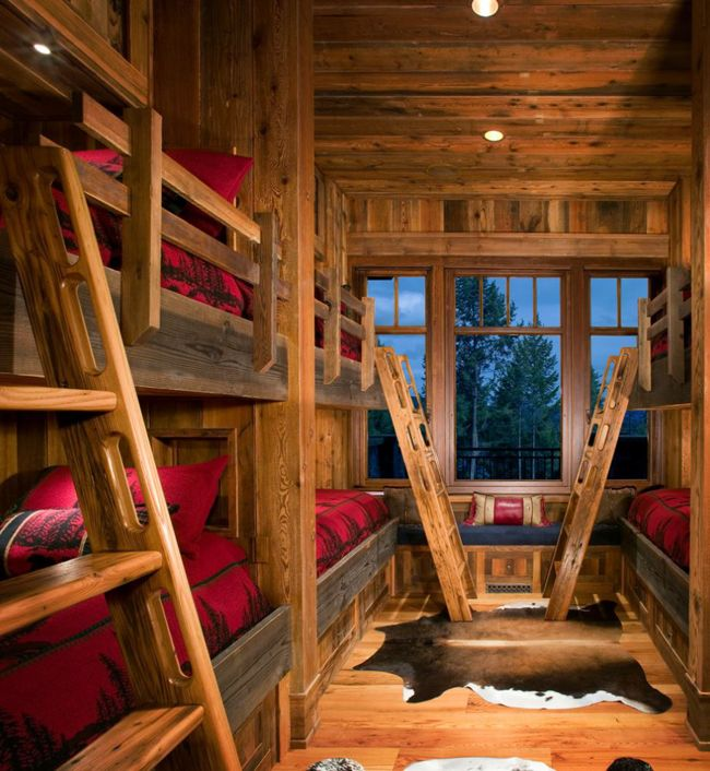 Rustic Bedrooms - Canadian Log Homes; perfect for the bunkhouse at the lake.....
