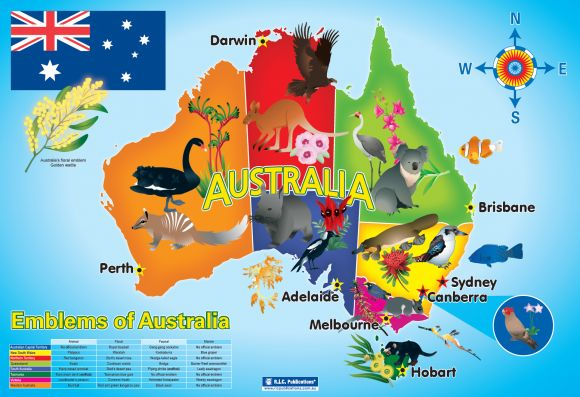 Emblems of Australia. Free classroom poster. Teacher resources from RIC Publications