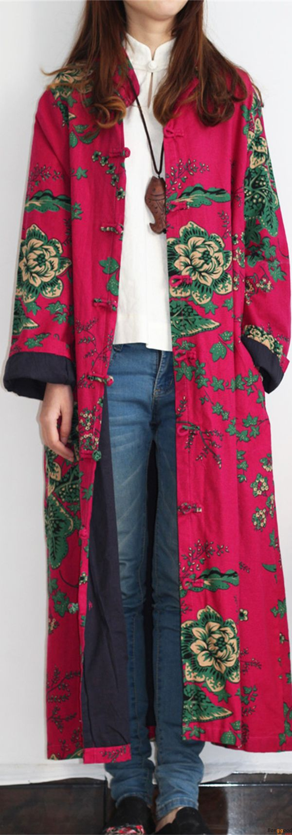 US$28.99+ Free shipping. Size: M~5XL. Color: Blue, Green, Red. Loving this vintage and casual style. O-NEWE M-5XL Vintage Floral Printed Long Coats. Shop at banggood with affordable price. #coats#women#fashion#2018