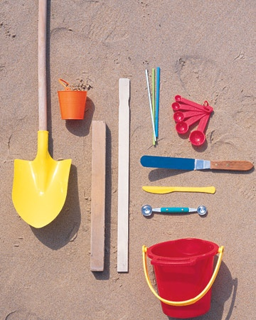 sand castle building supplies  --  I would also find some basic molds for the youngsters and don't forget a funnel to make cobble stone walls