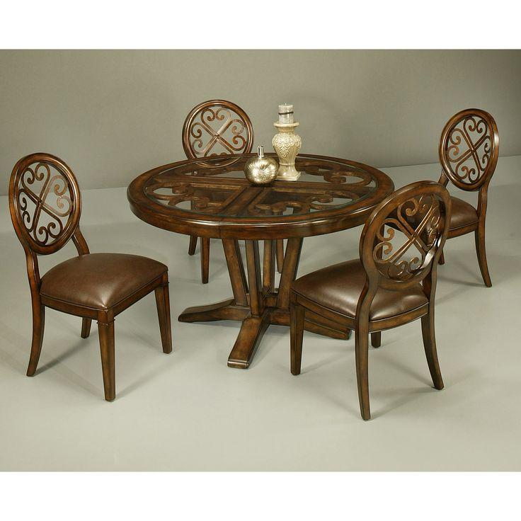 Pastel Furniture Devon Coast 5 Piece Dining Table Set With Glass