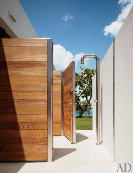 An exterior nook for showering...the weekend house