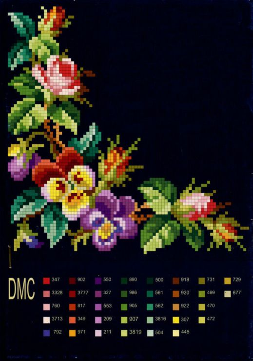 Please Share003200Beautiful Bright Colors Against A Black Background. The color chart is attached to the bottom of this eye-catching piece.  The colors show up vividly against the black background making this piece truly stunning. Happy Stitching. PHOTO CREDIT I am unable to find an original author of this piece. Please Share003200