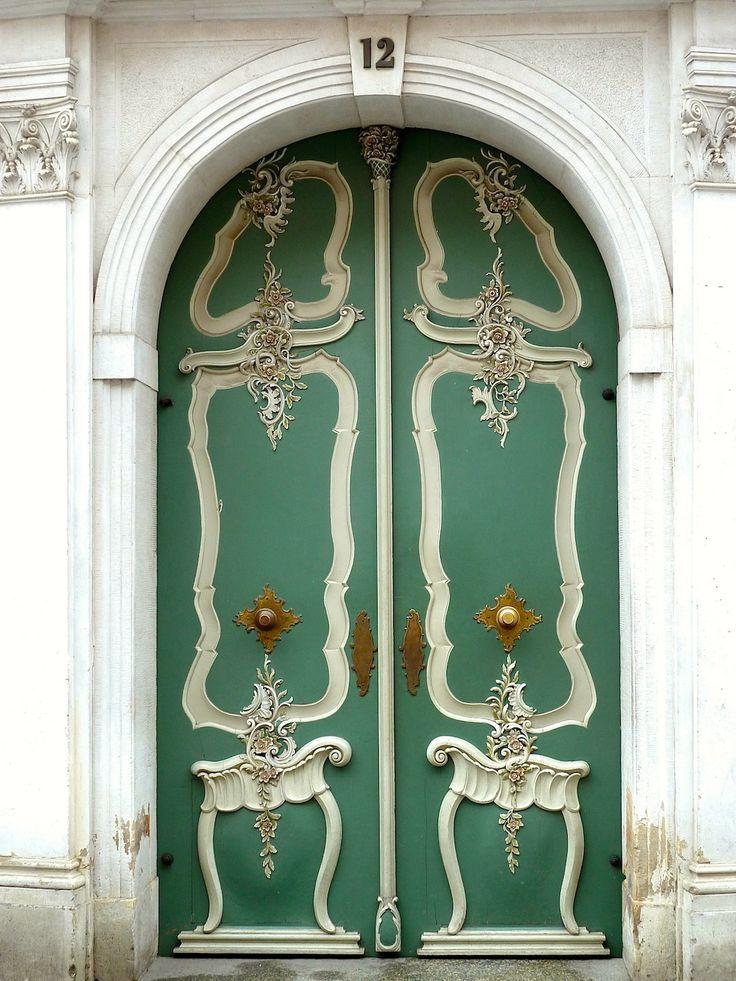 City Gdansk, Poland, green door, ornaments, beauty, details, entrance, doorway, curves, photo