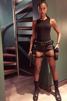 Celebrity Halloween Costume Inspiration Jasmine Tookes as Lara Croft