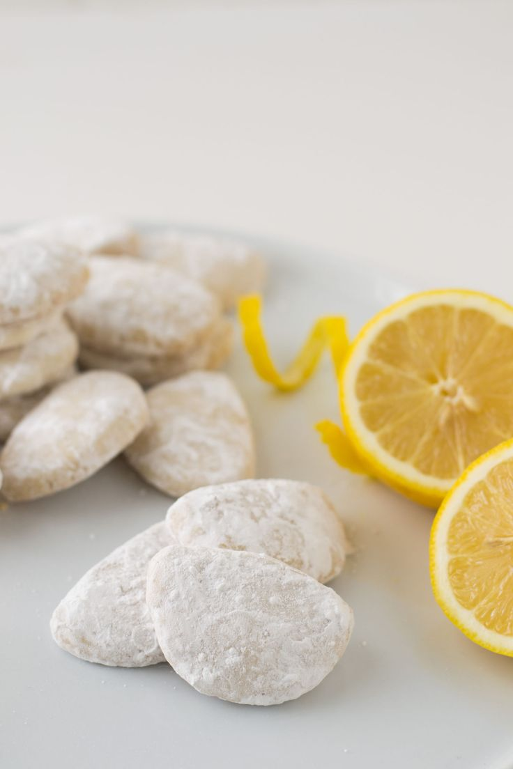 Sugar-Dusted Lemon Cookies  - Delish.com  -  butter, lemon, citrus, sugar, flour.  sweet snack with a bit of tart lemon.  want!     lj