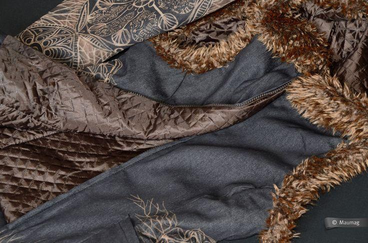 Купить Джинсовый жилет «Флора земли» - темно-серый, джинсовая ткань, роспись по ткани, с капюшоном