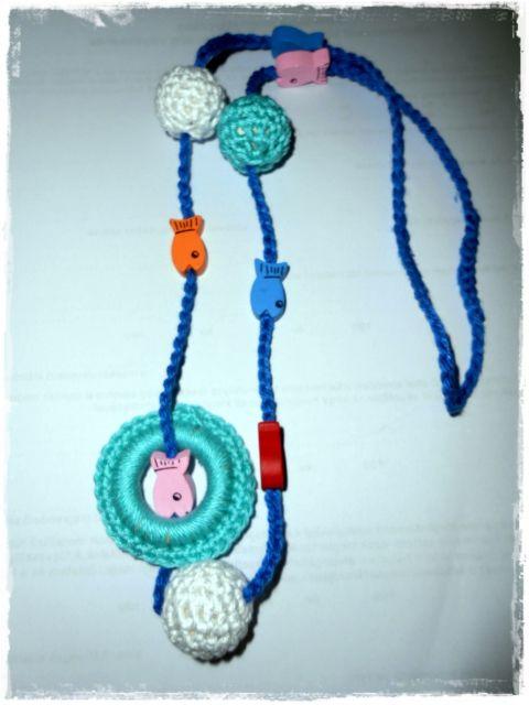 Hordozós nyaklánc - buborék, fonAlom, meska.hu crochet necklace