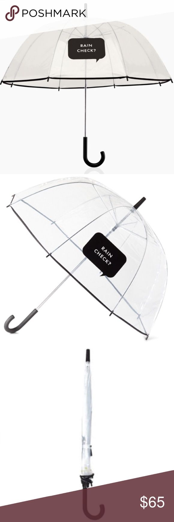 "♠️Kate Spade Rain Check Umbrella♠️ Instantly brighten any rainy day with this chic ""Rain Check?"" umbrella!!! Double layered nylon. Wind resistant. Painted resin hook handle. Measures 33.5"" in diameter. Sold out everywhere!!! kate spade Accessories Umbrellas"