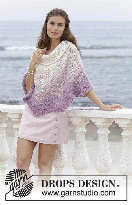 Lavender Wash   DROPS 188-40 - Poncho con motivo ondulato b42a099380ae