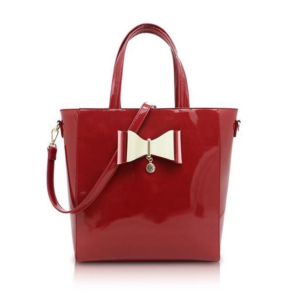 LYDC Carvella Burgundy Shimmer Shopper Tote Bag