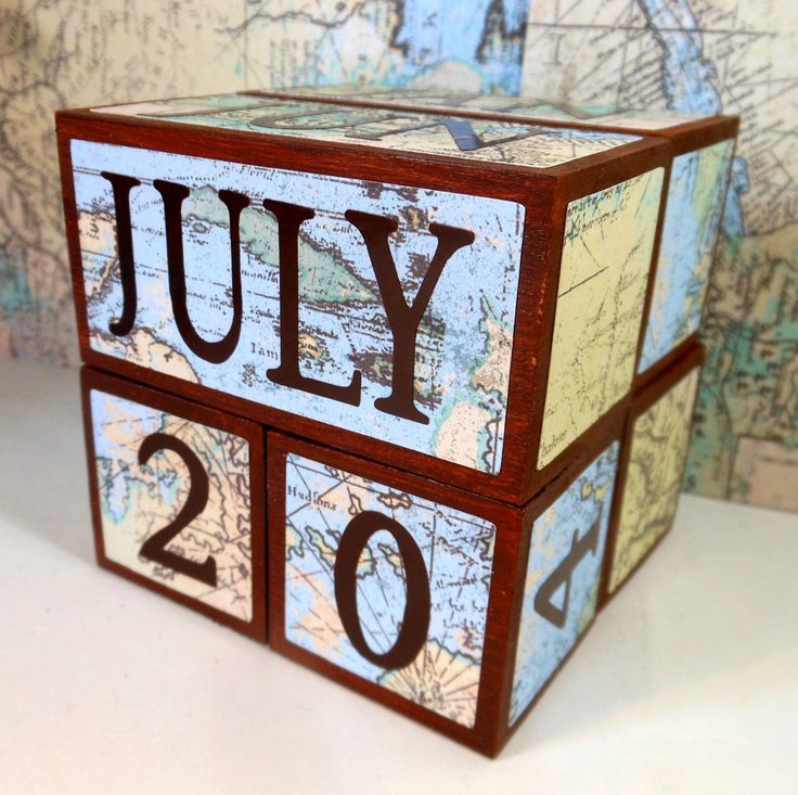perpetual wooden calendar WORLD MAP unique gift for teacher retirement or him rustic desk decor for cubicle classroom home desk accessory by AFieldOfSunflowers on Etsy