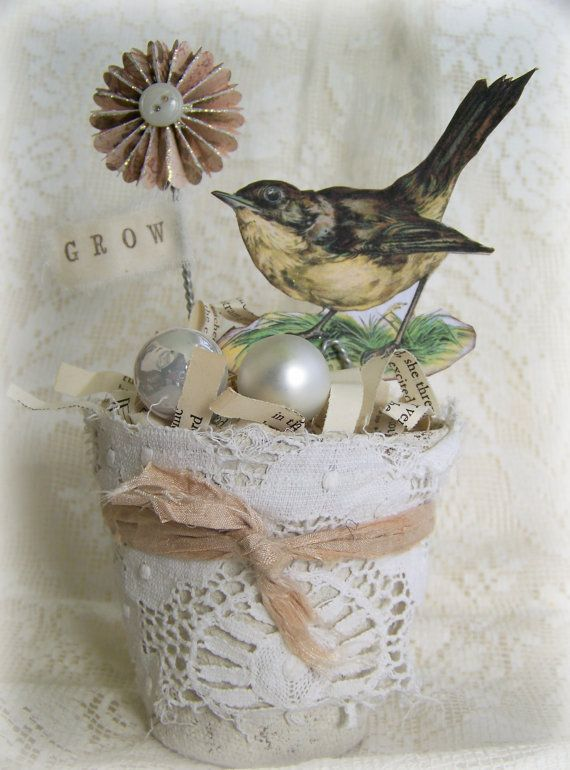 Handmade Bird Flower Pot Vintage Peat Pot Handmade Spring Decoration Altered Peat Pot Vintage Bird Decoration Shabby White Dove