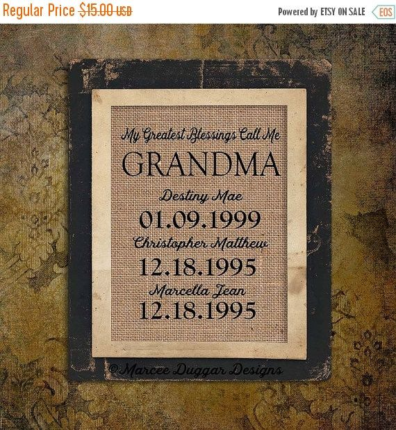 Burlap On Sale Christmas Gift for Grandma  by MarceeDuggarDesigns