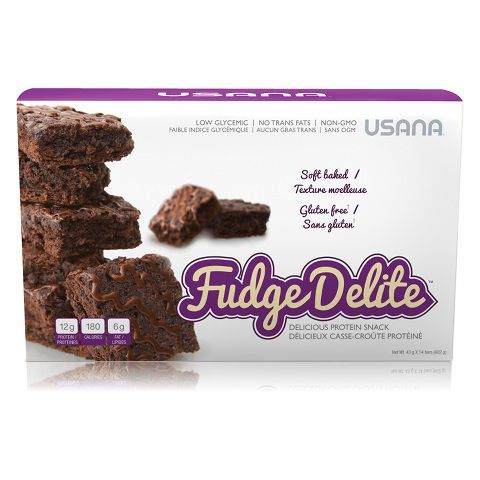 USANA Fudge Delite ™ is a soft texture protein snacks that will please you with its creamy taste chocolate from chocolate chips cooked in batter and a dark chocolate icing.