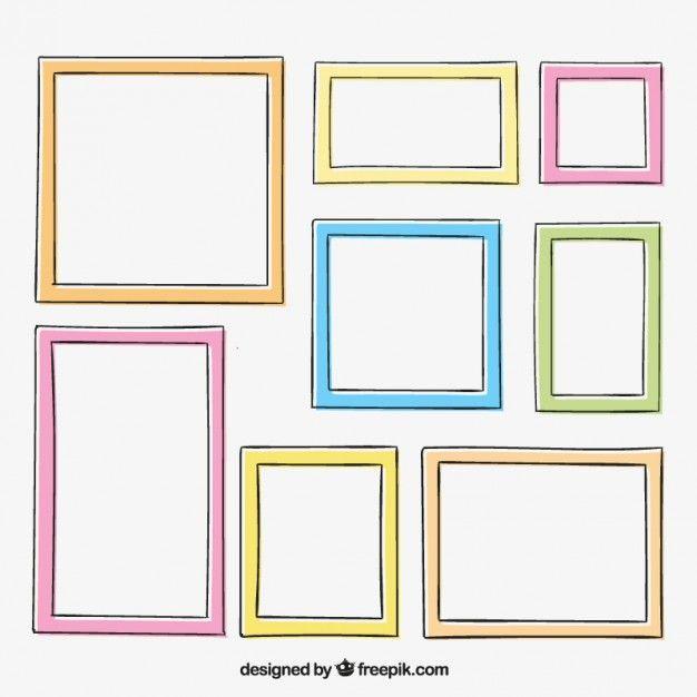 Disegnati a mano cornici colorate Vettore gratuito
