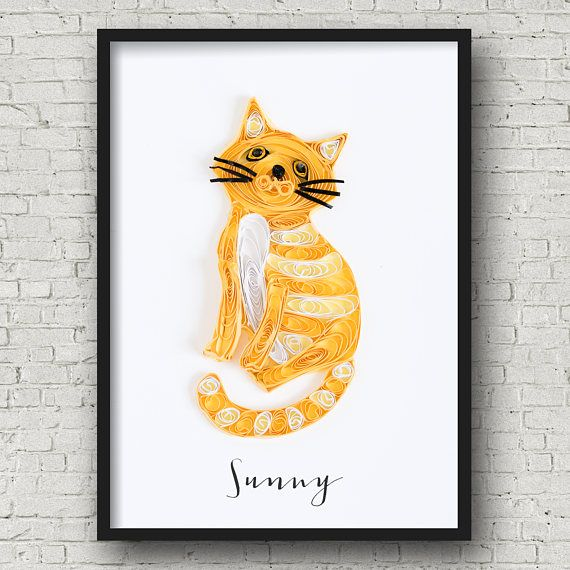 cute cat portrait - custom pet portrait - best cat lover gift - pet loss gift - personalized pet memorial gift -pet portrait from photograph by ofthingspretty