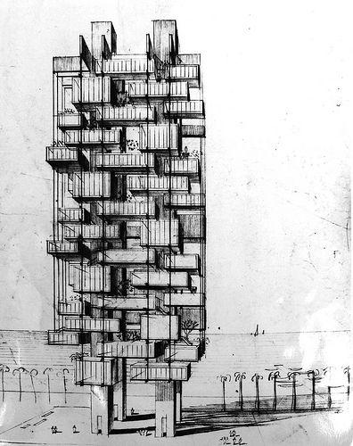 Prototype Garden Apartments - Rendering - Paul Rudolph