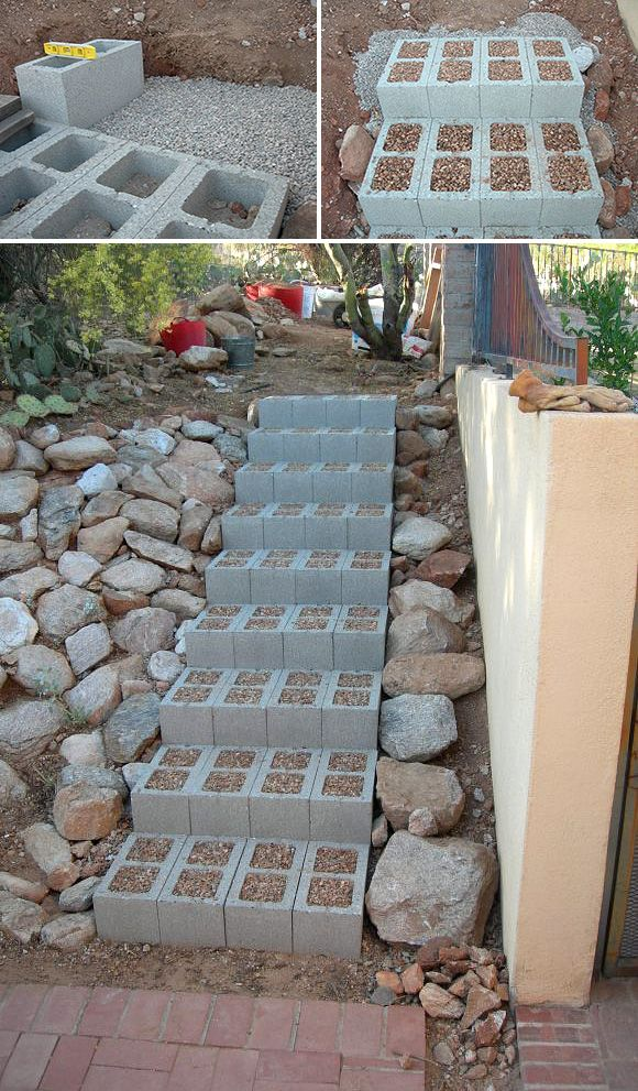 5 Ways to Use Cinder Blocks in the Garden • Lots of creative projects, ideas and tutorials! Including, from 'step by step', they show you how to do these diy concrete block stairs.