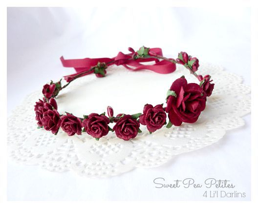 Red Blossom Petite Crown-Flower crown, newborn, floral halo