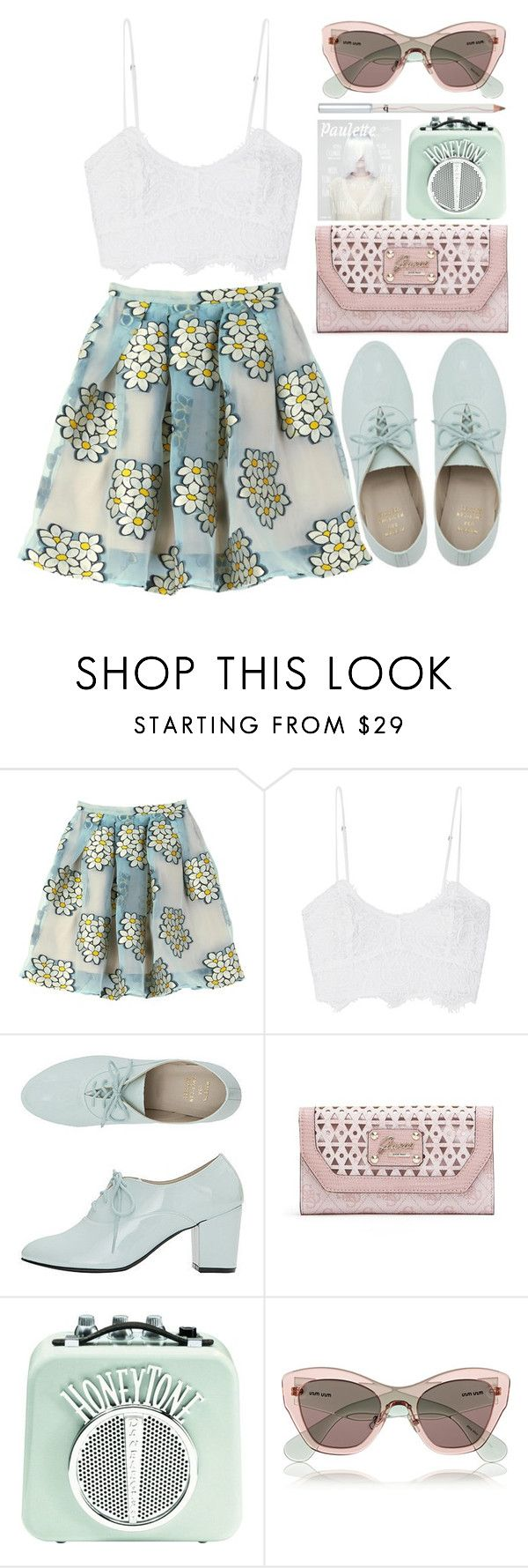 """Like ever."" by bellacharlie ❤ liked on Polyvore featuring RED Valentino, Miguelina, American Apparel, GUESS, Miu Miu, croptop, valentino, pastel, mintgreen and crochet"